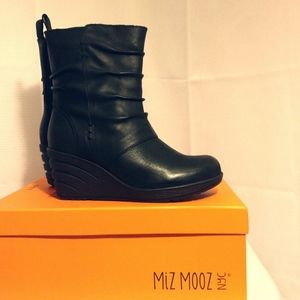Miz Mooz Ankle Boots black wedge bootie heels NEW